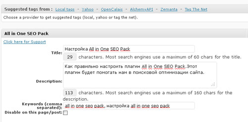 настройка all-in-one-seo-pack